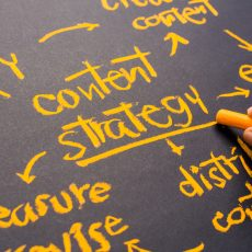 Closeup Content Strategy topic, handwriting on chalkboard