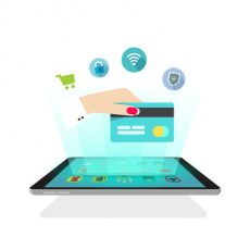 Tablet light rays with icons, hand holding credit card, online secure shopping, abstract ecommerce shop, future mobile technology, electronic wallet, video hologram design vector illustration isolated