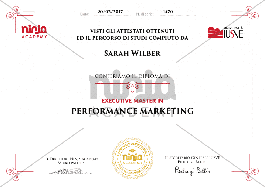 certificato performance marketing