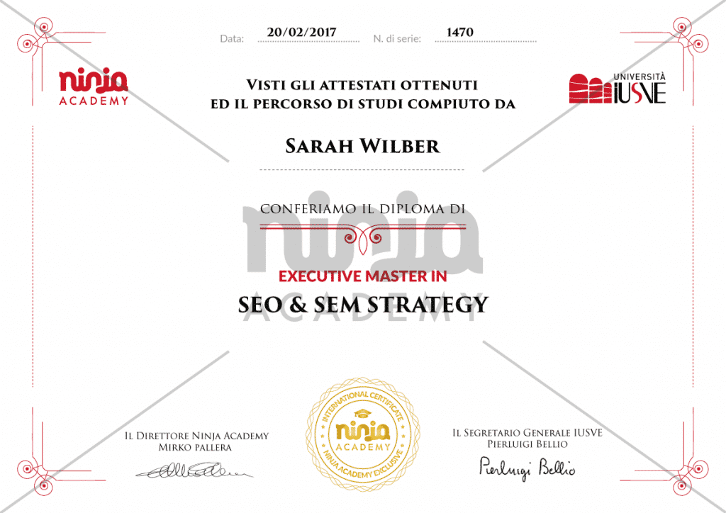certificato SEO&SEM