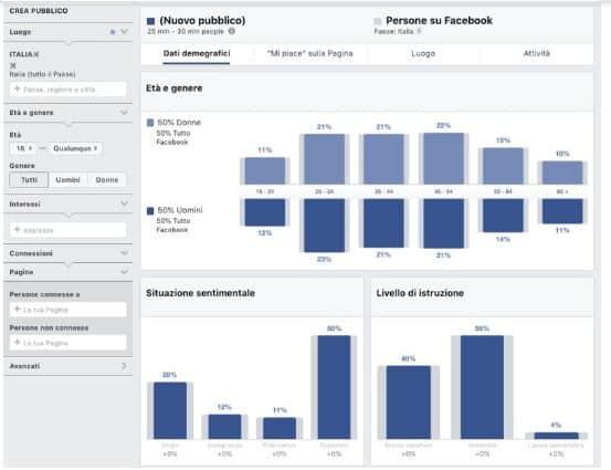 custom audience per gestire pagina facebook